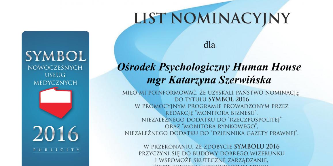 Symbol 2016 – List Nominacyjny